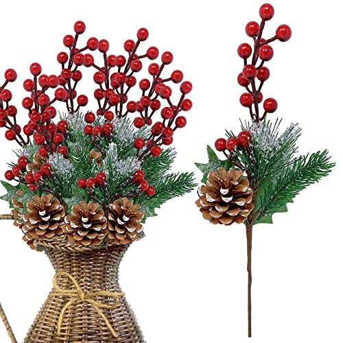 Pine Holly Flower Picks-Red Holly Berry Pine Cones Glittery Snow Tipped Christmas Floral Sprays Decorations 13 Inch Bendable Stems - Great for Holiday Crafts DIY Party Décor - 10 Pieces