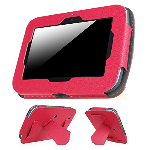 Fintie Leapfrog Epic Case - Premium PU Leather Standing Carrying Cover with Car Headrest Mount Holder Function for Leapfrog Epic/Leapfrog Epic Academy Edition 7 Android-Based Kids Tablet, Magenta