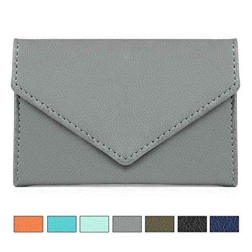 XeYOU Envelope Style Leather Case Minimalist Money Clip Front Pocket Wallet Super Thin Fashion Card Holder With ID Card Grey
