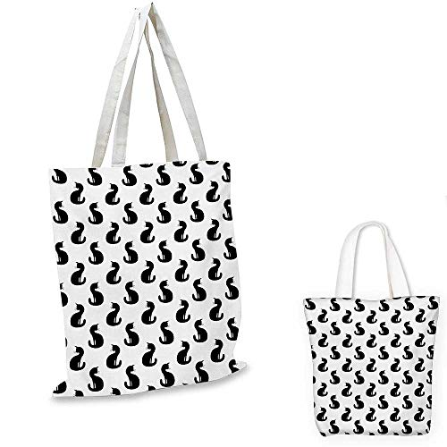 Cat fashion shopping tote bag Silhouette of a Kitten Monochrome Feline Pattern House Pet Illustration Halloween canvas bag shopping Black White. 15