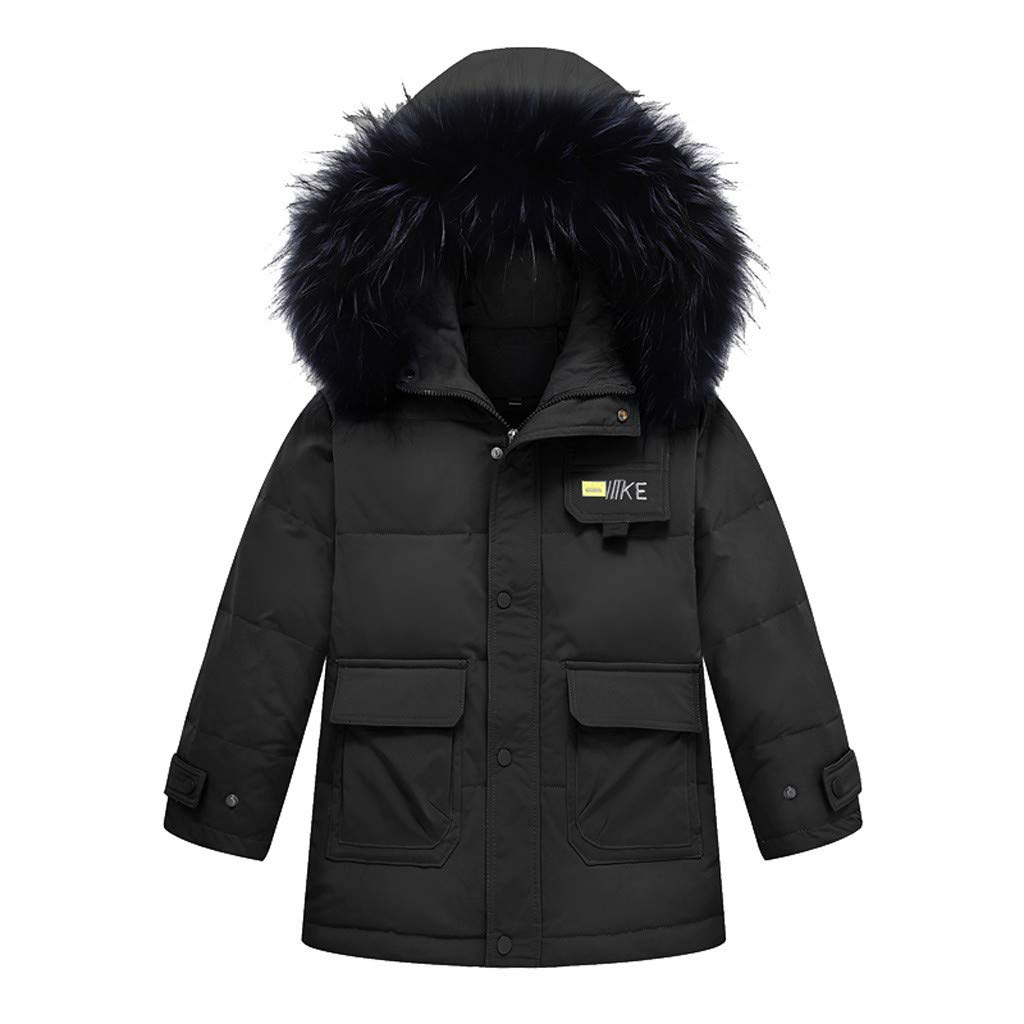 Gallity Kids Boys Girls Winter Warm Faux Fur Hooded Parka Thick Down Coat Puffer Jacket Padded Overcoat 4-12 Y (5-7 Years, Black) by Gallity Baby Coat