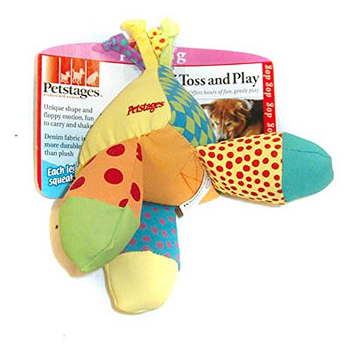 Petstages Triple Toss & Play Denim Fabric Dog Toy (One Size) (Multicoloured) (Toss Squeaker Toys)