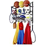 Sports Theme Coat Rack and Sport Equipment Storage Rack for Garage, Wall Mounted Metal Sports Rack & E-Book