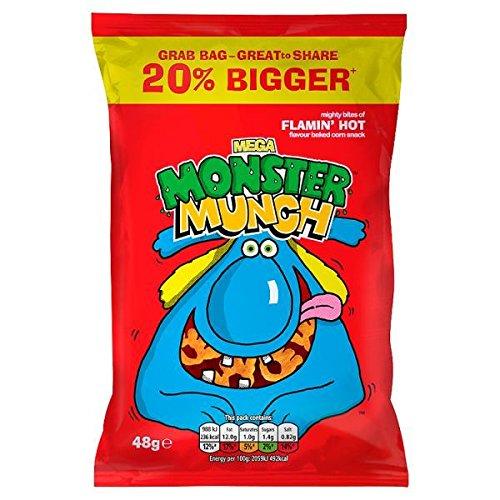 Mega Monster Munch Flamin' Hot Flavour Baked Corn Snack 30 x 48g Bags