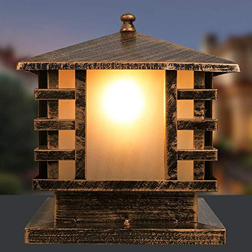 Decorative Garden Gate Park Garage Exterior Outdoor Post Lantern Traditional Antique Bronze Pillar Lights Square Outside Door Column Headlight Weatherproof Sturdy Pillar Lights LED Home Lighting ()