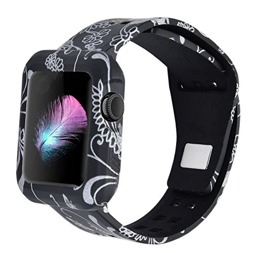 XiangMi Soft Protective Case Strap Bands Compatible with Apple Watch Series 3 Series 2 Series 1 Sport Edition,Silicone Rubber Watch Case Strap Bracelet Compatible with Apple Watch 38mm 42mm