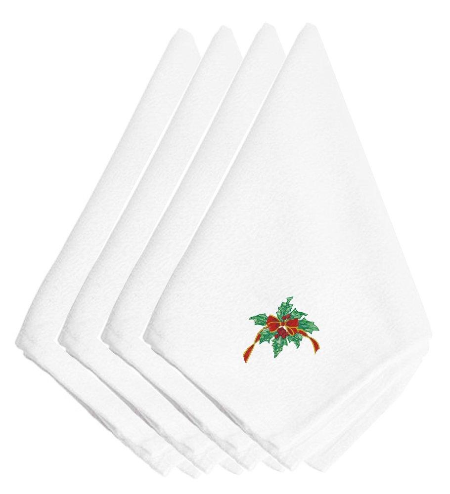 Caroline 's Treasuresクリスマスホリーリボン刺繍ナプキンのセット4 embt2412npke、20インチ、マルチカラー   B01KTJG77G