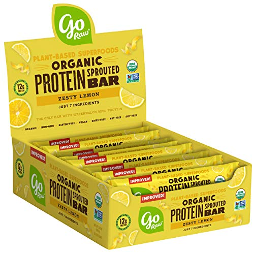 Go Raw Protein Bars, Zesty Lemon | Gluten Free Energy Bar | Organic | Vegan | Natural (12 Bars)