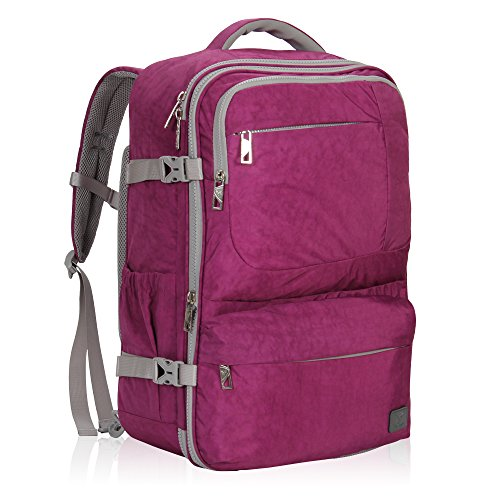 Hynes Eagle 44L Carry on Backpack Flight Approved Compression Travel Pack Cabin Bag, Purple (Pack Series Airplane)