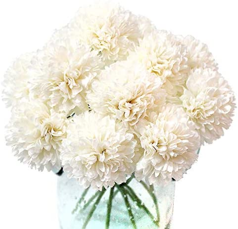 Jim`s Cabin Artificial Flowers Fake Silk Artificial Chrysanthemum Ball Hydrangea Bridal Wedding Bouquet for Kitchen Home Decor (White-N)