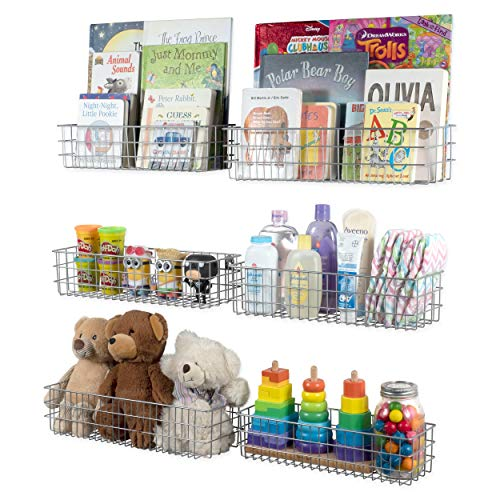 Wall35 Kansas Wall Mounted Kids Room Bookshelf Metal Wire Basket Varying Sizes Set of 6 (Gray) -
