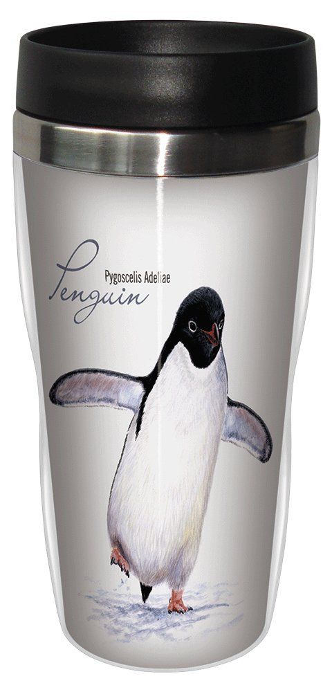 Adelie Penguin Travel Mug, Stainless Lined Coffee Tumbler, 16-Ounce - Jeremy Paul - Gift for Penguin and Animal Lovers - Tree-Free Greetings 25717