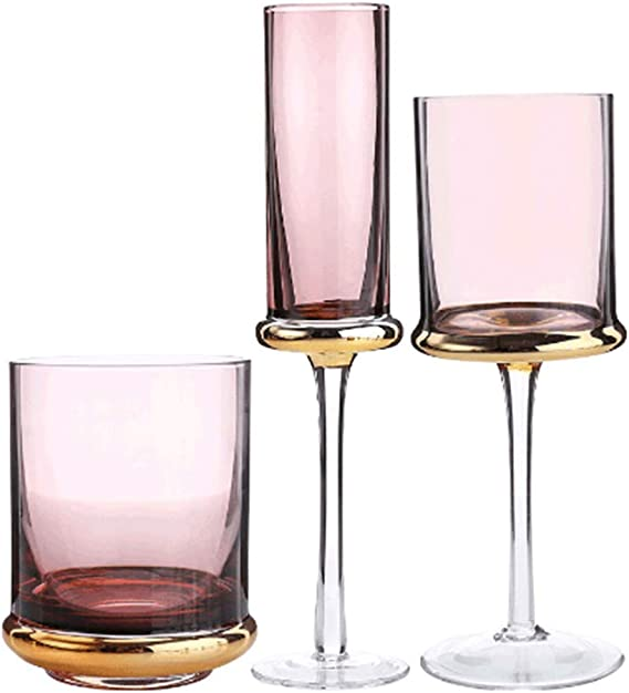 European-style plated glass cup home creative goblet champagne glass red wine glass Party Hotel Wedding Glasses Gift Drinkware