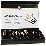 Cutlery Set, 24 Piece set, 201 Stainless Steel, 2.3mm, Shiny Goldwith Black Handle-CS-24-BG