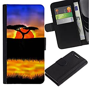 All Phone Most Case / Oferta Especial Cáscara Funda de cuero Monedero Cubierta de proteccion Caso / Wallet Case for Sony Xperia Z1 Compact D5503 // The African Safari Sunset
