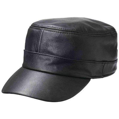 New Mens Womens Black Solid Leather Biker Flat Cap Adjustable Motorcycle Hat