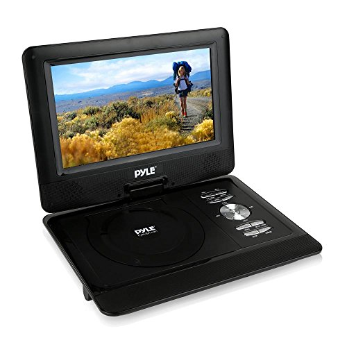 10'' Portable DVD Player, Swivel HD Widescreen, Built-in Rechargeable Battery, USB/SD Card Memory Reader Car Headrest Mount Included (PDV101BK)