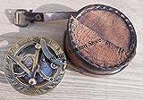 Handmade Brass Sundial Compass - Pocket Sundial -Brass Antiques West London. Beautiful Gift Item. C-3058 by Maritime Museum Store