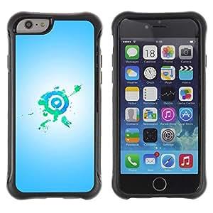 Suave TPU Caso Carcasa de Caucho Funda para Apple Iphone 6 PLUS 5.5 / Bullseye Target Green Blue / STRONG