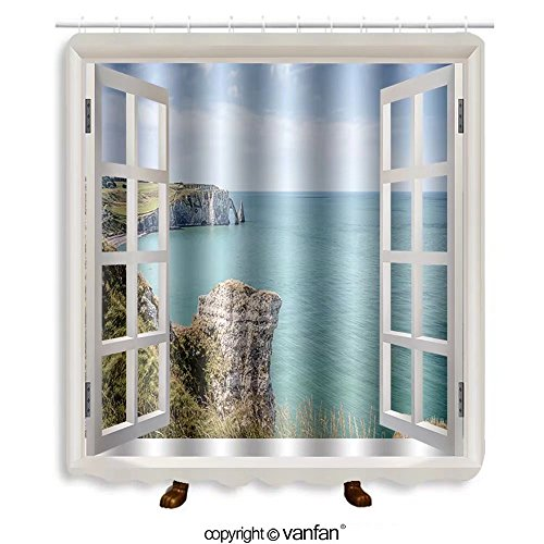 Vanfan designed Windows 391987033 Cliffs of Etretat in Normandy, France Shower Curtains,Waterproof Mildew-Resistant Fabric Shower Curtain For Bathroom Decoration Decor With Shower (Normandy Shower Kit)