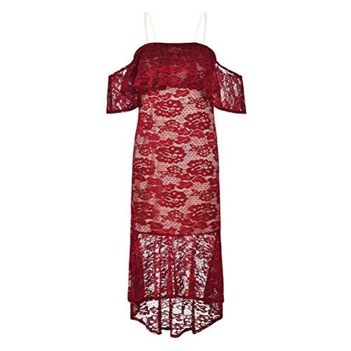 Estate Pizzo Cocktail Abito Stretto Vestito Da Donne Festa Sexy Di Rosso Sygoodbuy Vestito Delle Dalla Spalla 5wXq4X