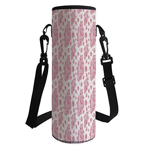 Water Bottle Sleeve Neoprene Bottle Cover,Coral,Peonies English Roses Victorian Bouquet Corsage Blossoms Flourish,Light Pink Dark Coral White,Fit for Most of Water Bottles by iPrint