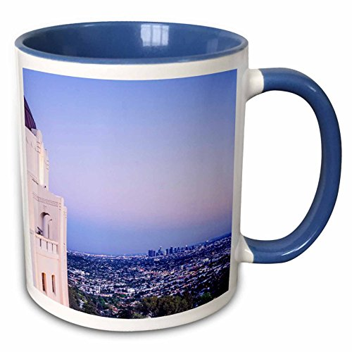 3dRose Boehm Photography Travel - Los Angeles from Griffith Park Observatory - 15oz Two-Tone Blue Mug (mug_223428_11)