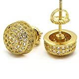 Men's Gold Tone ICED OUT Micropave 3D Dome Cz Earring Stud Round Screw Back Hip Hop