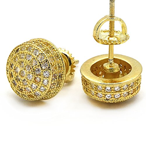 Men's Gold Tone ICED OUT Micropave 3D Dome Cz Earring Stud Round Screw Back Hip Hop by L & L Nation