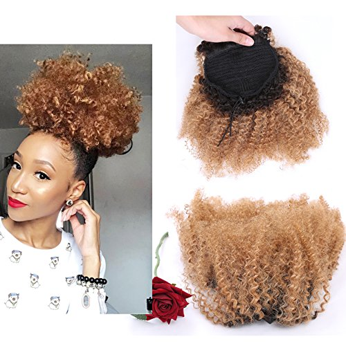 Lacerhair Afro Kinky Curly Human Hair Ponytail Hair Extensions 4B 4C Coily Natural Remy Curly Clip in Ponytail Extension One Piece For Black Women 10-20 inch (10 inch, Ombre #1B/27 Blonde) (Replica One Piece)