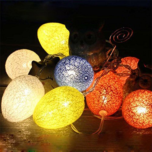 unigds Battery Powered Colorful 10LED Easter Egg String Light Lantern For Game Party Home Garden Decoration ()