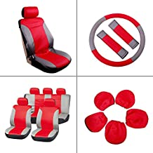 SCITOO Universal Red/Gray Car Seat Cover w/Headrest/Steering Wheel/Shoulder Pads 12Pcs Breathable Embossed Cloth Retractable