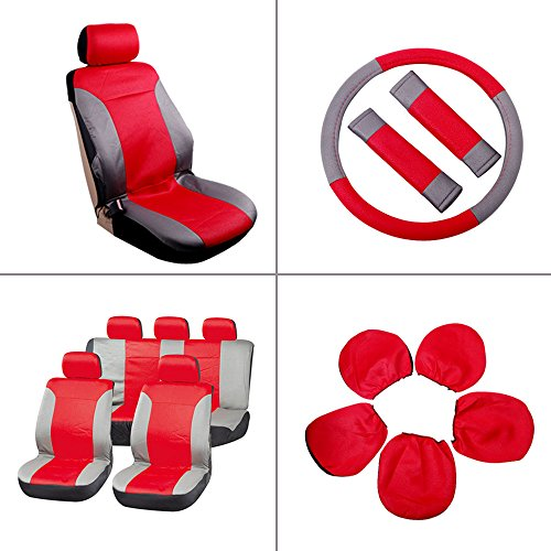 - SCITOO Universal Red/Gray Car Seat Cover w/Headrest/Steering Wheel/Shoulder Pads 12Pcs Breathable Embossed Cloth Retractable