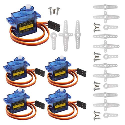 Miuzei SG90 Servo Motor Micro Servo 9G Servo Motor for RC Robot Arm  Helicopter Airplane Remote Control (5 Pcs)