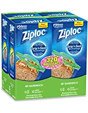 Ziploc Sandwich Bags with Easy Open Tabs, 320 Count (4x80ct) value pack