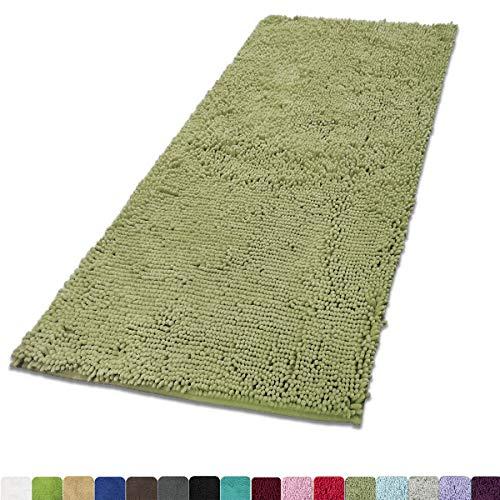 MAYSHINE Absorbent Microfiber Chenille Door mat Runner for Front Inside Floor Doormats, Quick Drying, Washable-31x59 inch Sage Green