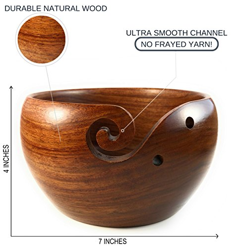 Yarn & Fiber Premium Yarn Bowl | Large 7x4 Inch with Travel Bag | Smooth Handcrafted Rosewood, Stop Yarn From Rolling, Knitting and Crochet Yarn Holder by Yarn & Fiber (Image #5)