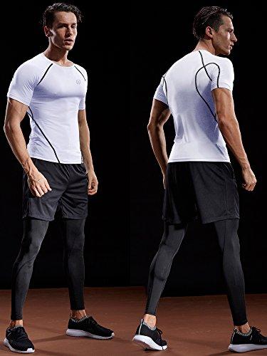 Neleus Men's 3 Pack Compression Baselayer Athletic Workout T Shirts,5022,Black,Grey,White,US S,EU M by Neleus (Image #3)
