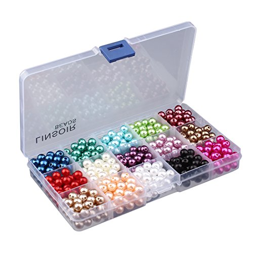 Linsoir Beads 600 Pcs Tiny Satin Luster Imitation Round Pearl Beads for DIY Jewelry Making 15 Colors Assorted Value Pack (8mm) (Round Imitation Pearls)