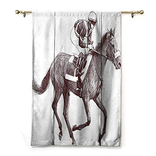 - Simple Curtain Horse Decor Sketchy Illustration of Racing Horse and Jockey Equestrian Sports Theme Art Soft Texture W48 xL72 Brown White