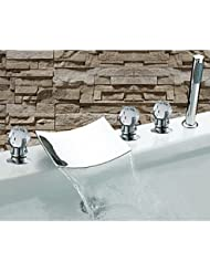 BL Modern Retro Contemporary Chrome Finish Three Handles Waterfall Bathtub Faucet With Hand Shower Bathtub Faucet Chrome Plated Solid Brass