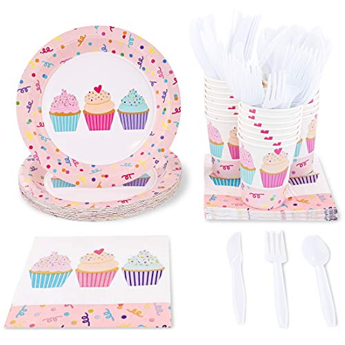 Blue Panda Pink Cupcakes Birthday Party Supplies - Plates, Knives, Spoons, Forks, Napkins, and Cups, Serves 24]()