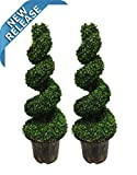AMERIQUE AM51130FT4PK2 Pack of Two (2) 4 Feet Wide and Dense Boxwood Spiral Topiary Artificial Trees Emerald Green
