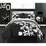 Chic Home 3 Piece Calla Lily Reversible Large Scale Floral Design Printed with Diamond Pattern Reverse Duvet Cover Set, Queen, Black