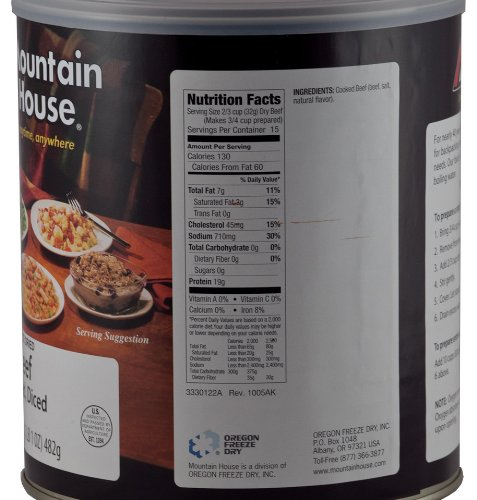 Mountain House Cooked Diced Beef #10 Can