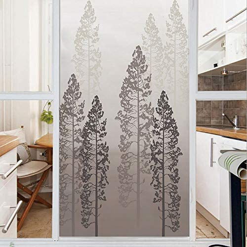 Decorative Window Film,No Glue Frosted Privacy Film,Stained Glass Door Film,Pine Trees in the Forest on Foggy Seem Ombre Backdrop Wildlife Adventure Artwork Decorative,for Home & Office,23.6In. by 59I