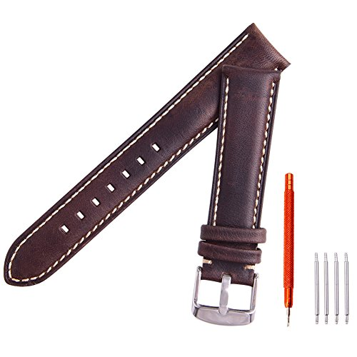 Ritche Leather strap Replacement Watch Bands Straps 20mm-Espresso