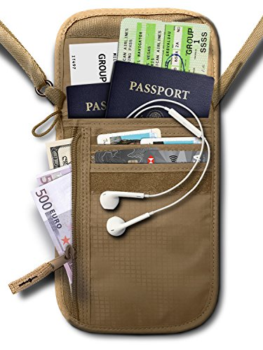 RFID Blocking Neck Stash Passport, Unisex, Tan