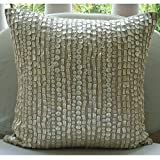 "Designer Ecru Pillow Shams, Allover Mother Of Pearls Pillow Shams, 24""x24"" Pillow Sham, Square Cotton Linen Shams, Contemporary Pillow Shams - Purely Pearls"