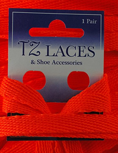 TZ Branded Flat 3/8 (10mm) Fashion Trainers Plimsoles Boots Shoe & Skate Boot Laces Flo Orange 7idFnJAv
